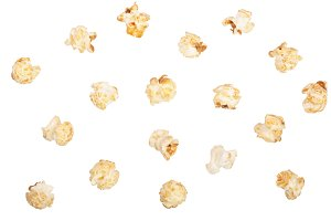 Popcorn isolated on white background with clipping path. Flat lay pattern