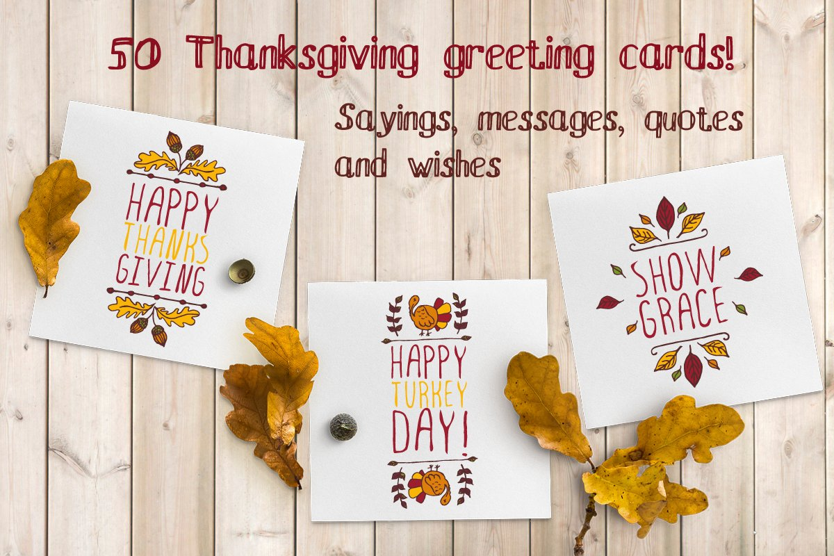 50 thanksgiving greeting cards illustrations creative market m4hsunfo