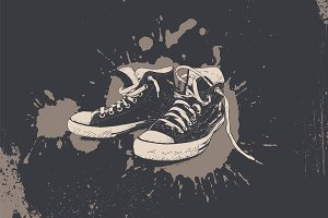 Sneakers vector grunge illustration