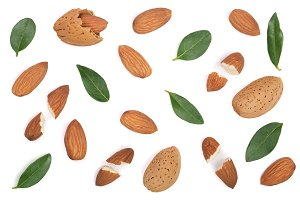 almonds with leaves isolated on white background. Flat lay pattern. Top view