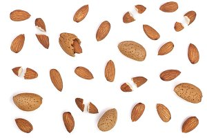 almonds isolated on white background. Flat lay pattern. Top view