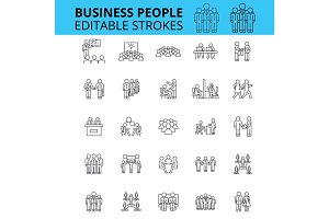 Business people ouline vector icons. Editable strokes. Group of business people signs set. Business team concept thin line icons. People and work, communication, businessmen logo