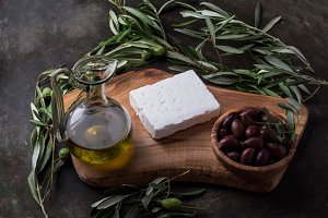 Feta cheese with olives and oil