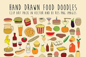 Hand Drawn Foods Vector Pack