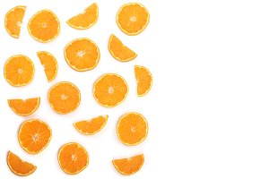 Slices of orange or tangerine isolated on white background with copy space for your text. Flat lay, top view