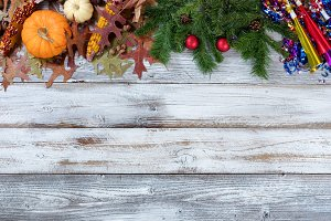 Year End Holidays on Rustic Wood