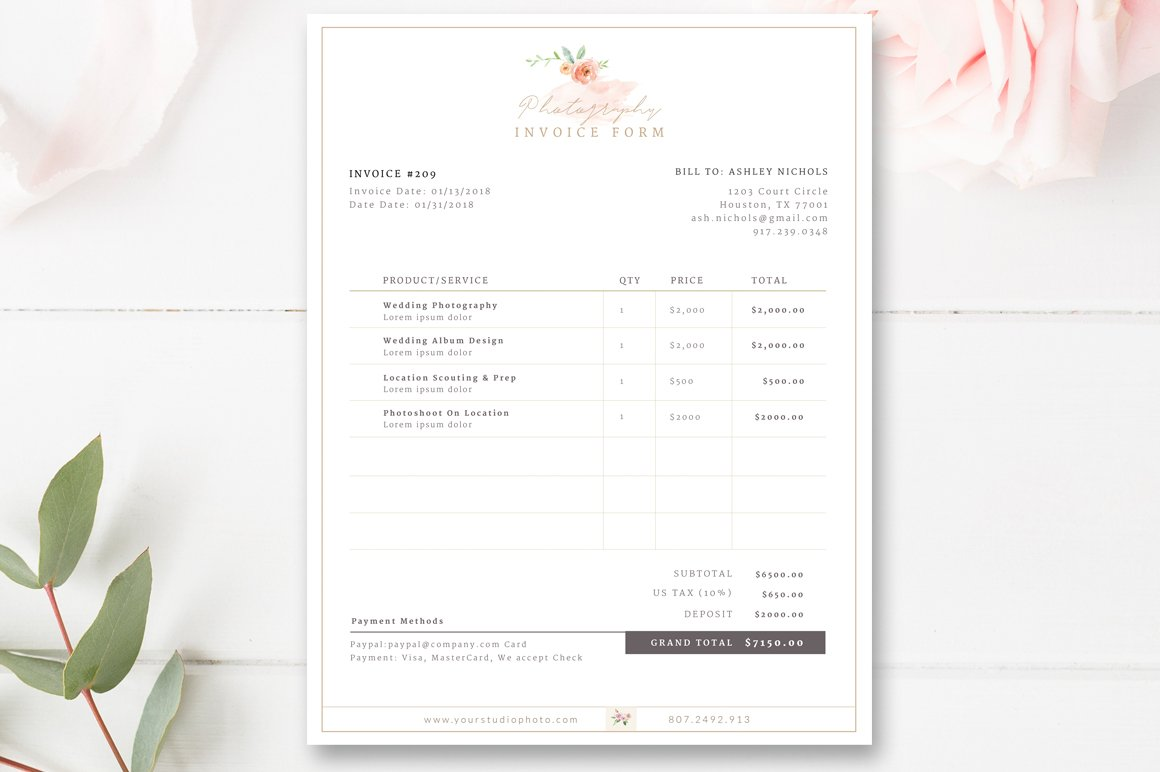 invoice template for photographers flyer templates creative market
