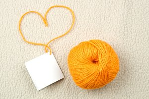 Wool ball and heart shape