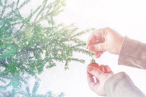 A girl hanging a Christmas ball on a Christmas tree on a white background.