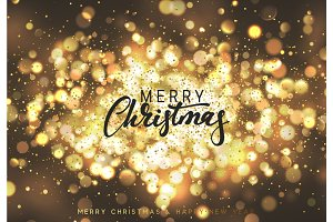 Christmas background with lights gold bokeh. Xmas card.