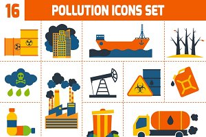 Pollution environment icons set