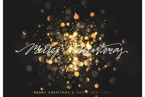 Christmas background with golden lights bokeh. Xmas greeting card.