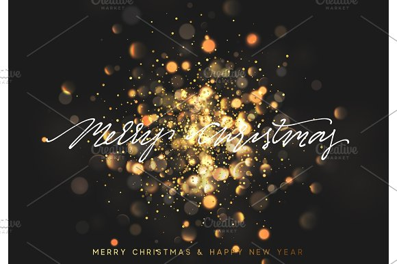Christmas background with golden lights bokeh. Xmas greeting card ...