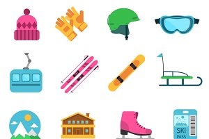 Winter sport flat icons set