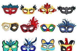 Set of colorful carnival masks