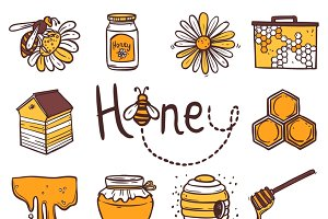 Honey hand drawn icons set