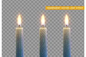 Candles burn with fire. Set of paraffin candles realistic isolated on transparent background.