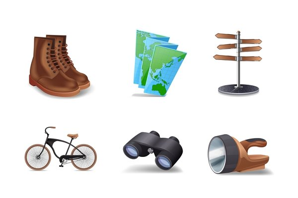 Hiking realistic icons set