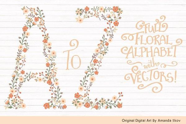 Peach Floral Alphabet Vectors & PNG…
