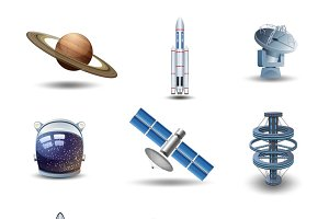 Space decorative icons set
