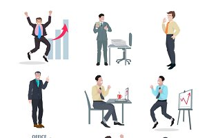 Successful businessman icons set