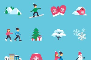 Winter season flat icons