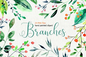 Watercolor branches, leaves PNG