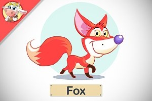 Funny Cute Fox. Vector