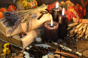 Black candles and magic herbs