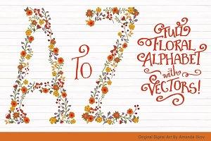 Autum Floral Alphabet Vectors & PNGs