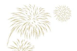 Gold fireworks on white background