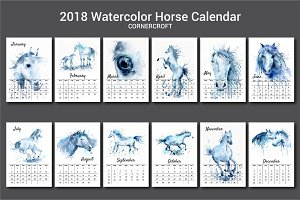 2018 Calendar Watercolor Horse