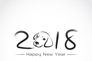 2018 new year card, Year of the dog.