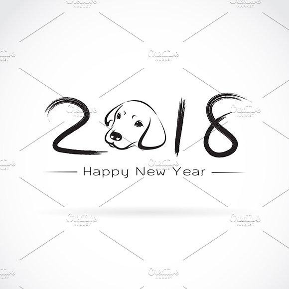 2018 new year card year of the dog icons