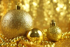 Gold Glitter Ornaments Photo