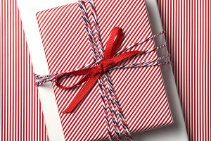 Present Red Striped Paper