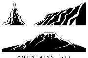 Mountains silhouettes set