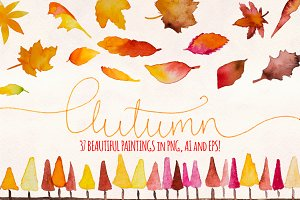 Autumn Leaves 37 Watercolor Elements