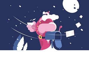 Santa Claus stands near mailbox
