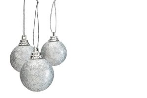 Silver hristmas balls isolated on white background