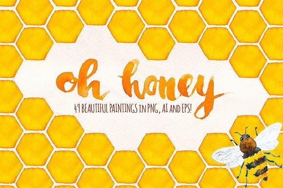 49 Honey Bee Watercolor Elements