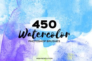 450 Watercolor Brushes. PS Hi-Res