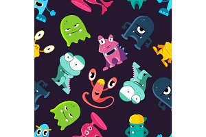 Ugly but cute funny monsters vector seamless pattern