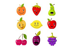 Cute kids fruit vector characters with funny smiling faces