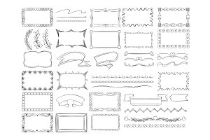 Doodle frame borders, hand drawn ribbon banners and sketch design decoration elements vector set