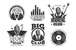 Retro audio record, studio sound vector labels, badges, logos, emblems