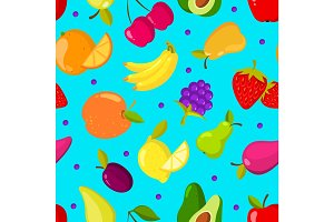 Summer tropical fruits vector seamless background