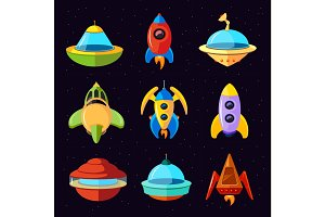 Cartoon vector fantastic ufo, spaceships and rockets vector set