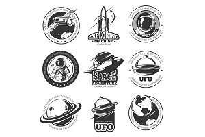Retro space, astronaut, astronomy, spaceship shuttle vector labels, logos, badges, emblems