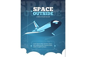 Outer space, universe adventure, galaxy travel vintage vector poster
